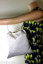 Vintage Gucci White GG Monograms Print Polyester Drawstring Pouch Handbag Bag