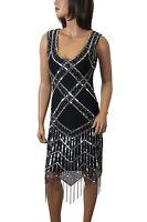 1920's Gatsby Flapper Sliver Deco Frindge hem Embellished Dress 8 to  PLUS SIZES
