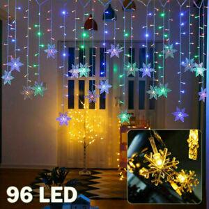 Weihnachten LED Schneeflocke Lichtvorhang Lichterkette Fenster Beleuchtung Deko
