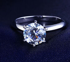 14K SOLID WHITE GOLD 2 CT SI1/D Round Cut Diamond Solitaire Engagement Ring