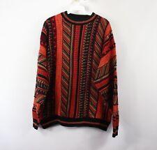 Vintage 90s Coogi Style Mens Medium Textured Multi-Color Biggie Smalls Crewneck