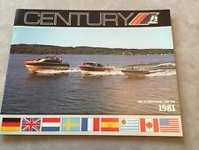 CENTURY BOAT~BOATS~1981 ORIGINAL SALES BROCHURE~MINT CONDITION~CORONADO~RESORTER
