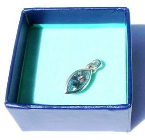 New Dower and Hall Twinkle Aquamarine Blue Topaz  Charm Sterling Silver RRP £48