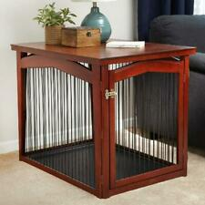 Dog Pet Wooden Crate End Table Convertible 2 In 1 Dog Gate And Kennel Home Decor