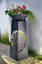 Pflanzsäule Mandala  Schale  mit Beleuchtung Pflanzschale Rostoptik Rostsäule