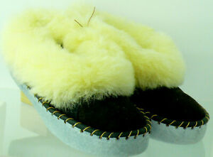 SHEEPSKIN SLIPPERS UNISEX 100% GENUINE LEATHER HAND-MADE