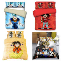 3Pcs Housse de Couette 3D Dragonball Z Lit Simple/Double/King Réversible Enfants