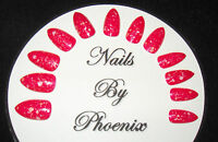 hand painted full cover dark pink lace stiletto false nails, choice of sizes