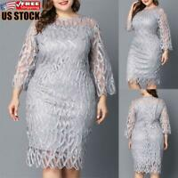 US Plus Size Womens Casual Lace Mini Dress Ladies Evening Party Cocktail Dresses