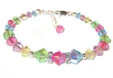 "PASTEL Mix CHILD'S Crystal Bracelet 6"" to 7"" Sterling Silver Swarovski Elements"