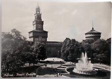 1953 cartolina Milano Piazza Castello edizione Rotalfoto viaggiata timbro libri