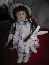 Porcelain Easter Girl Doll with Easter Rabbit