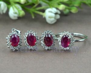 Natural Ruby Cabochon Gems 925 Sterling Silver Ring Earring Pendent Jewelry Set
