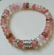 Pink/clear Volcano Quartz & Links Of London sweetie silver rings, Bracelet NEW