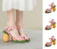 Pineapple Womens Shoes Printing Buckle Strap High Heel Peep Toe Pink Soft Chic