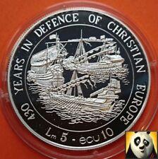 1993 Malta 5 liras 10 ECU Valleta asedio cristianismo defensa moneda de plata prueba