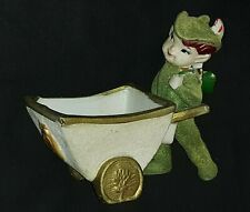 Vtg- Flocked *Leprechaun/ Elf Pushing Cart Planter* Irish Pixie Figurine- Japan
