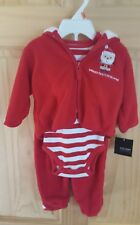NWT Baby's First Christmas 3 Piece Outfit Jacket Santa Footed Pants 0-3 Months