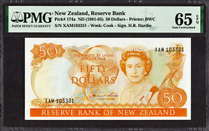 New Zealand 50 Dollars (1981-85) Hardie Prefix- XAM Pick-174a GEM UNC PMG 65 EPQ