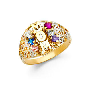 Ladies 14k Yellow White Real Gold CZ Gem Birthstone Mothers Day Mom Ring Band
