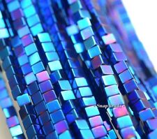 6MM HEMATITE GEMSTONE BLUE SQUARE CUBE 6X6MM LOOSE BEADS 7.5""