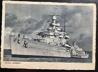 1942 Germany Feldpost Real Picture Postcard Cover Battleship Nurnberg
