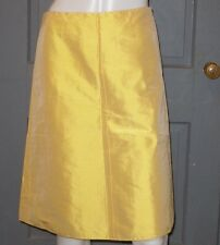 NWT womens ARELI COLLECTION sun yellow SILK a-line skirt sz 4 NEW