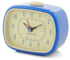 Retro Alarm Clock Blue Kikkerland Battery Operated Glow In The Dark Hands