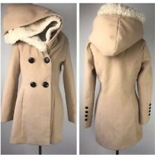 Max Mara Vintage Removable fur Hood Coat 4 Small Camel Beige Jacket Button RARE