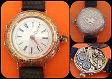 ANTIQUE GOLD WATCH-mechanical Manual-oro 14k/0,585 gold-Trasformato da polso-