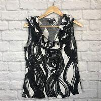 Grace Sleeveless Linen Top Ruffle Collar Side Zip Sz 6 111.567