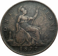 1882 H UK Great Britain United Kingdom QUEEN VICTORIA Genuine Penny Coin i79510