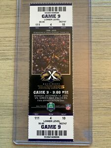 Green Bay Packers @ Ravens Ticket Stub 12/19/05 Aaron Rodgers NFL Debut Game #2