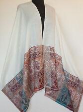 Ivory Wool Shawl Paisley Pashmina Jamavar with Detailed Hand-Cut Kani Border