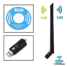 1200Mbps Wireless USB WiFi Network Adapter Dual Band 2.4/5Ghz w/Antenna 802.11AC