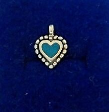 Sterling Silver Tiny 14x11mm Blue Inlaid Stone Heart Charm!