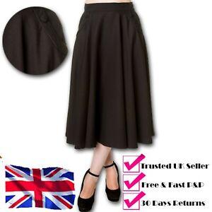 Banned Apparel Gracie 40s Vintage Retro Black Flare Swing Pocket Skirt UK 6-14