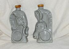 2 Vtg Jim Beam Political Decanter Elephant Donkey Bottle Republican Democrat Set