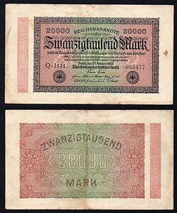 Germania / Germany - 20000 mark Reichsbanknote 1923 BB/VF  B-04