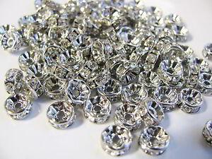 20, 50 o.100 Strassrondelle 8mm silberfarben dunkel, Perlen, Rondelle