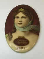 Vintage Queen Quality Shoes Advertising Celluloid Pocket Mirror Victorian Lady