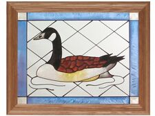 13x16 CANADA GOOSE Bird Wildlife Stained Art Glass Framed Suncatcher