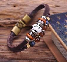 G62 Bronze Hemp Leather Wood Clay Beads Bangle Bracelet Cuff Mens Surfer Stone