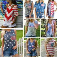 Womens Short Sleeve Vest Patriotic Stripes Star American Flag Print Tank Top