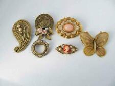 Lot (5) Faux Pearl Rhinestone CAMEO Bonnet Pins Brooch (1) BUTTERLY Pendant