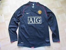 MANCHESTER UNITED long sleeve jersey by NIKE UNIQUE RARE 2007-2008 /men/black/ S