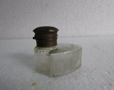 Vintage Collectible Beautiful Glass Inkwell Ink Pot With Brass Lid