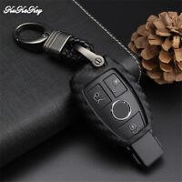 Carbon Fiber Car Key Fob Cover Case Holder Protector for Mercedes-Benz Key Ring