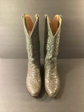 Vtg To Stanley 🇺🇸 Men's Sz.8D Handcrafted Gray Full Quill Ostrich Cowboy Boot!