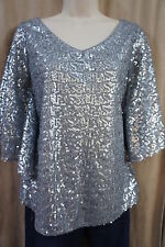 Xscape By Joanna Chen Top Sz 8 Silver Embellished All Over Evening Blouse